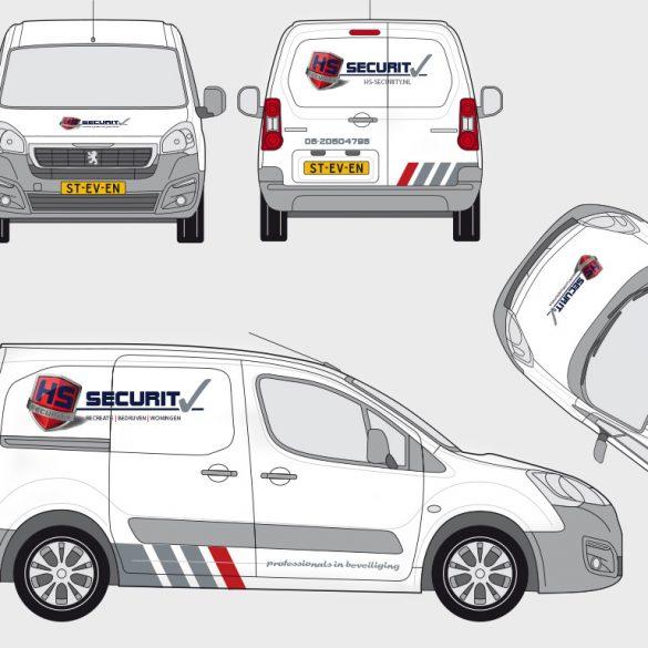 ontwerp voor de auto-belettering van een Peugeot Partner.