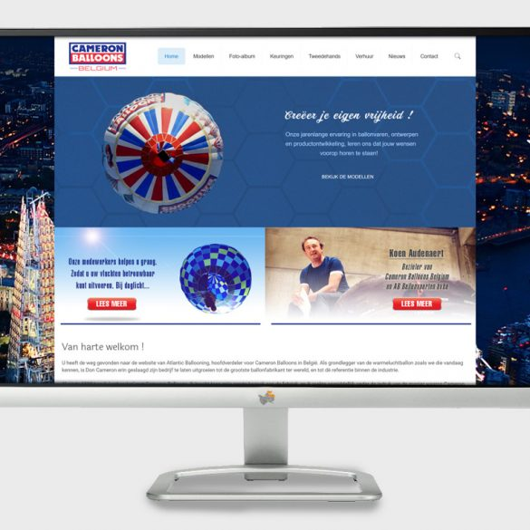website voor Cameron Balloons Belgium